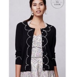 Anthropologie HWR Monogram Black Cardigan, size S